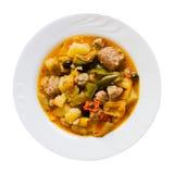 Boulette de viande et légumes cuits Images stock