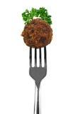 Boulette de viande sur la fourchette photos libres de droits