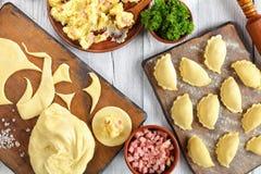 boulette purée de pommes de terre, jambon finement haché Photo stock