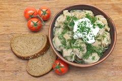 Boulettes avec les herbes et la crème sure fraîches dans un plat, toma de cerise Photo libre de droits