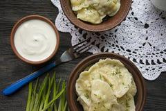 Boulettes avec les pommes de terre et le chou Cr?me sure, lait et verts Plat traditionnel de l'Ukraine Fond en bois fonc? photos stock