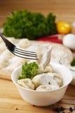 Boulettes bouillies fraîches de viande Photos stock