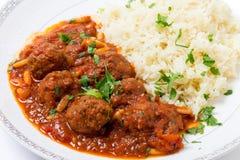 Boulettes de viande arabes de basha de Dawood avec du riz Photo libre de droits