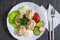 Boulettes de viande avec de la laitue, concombres, radis Images stock