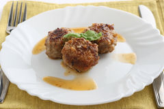 Boulettes de viande avec le basilic Photo stock