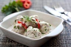 Boulettes de viande en sauce blanche Photos libres de droits