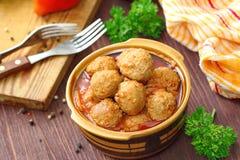 Boulettes de viande en sauce tomate Photos libres de droits