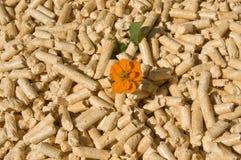 Boulettes et fleur en bois Image stock