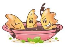 Boulettes frites japonaises Gyoza personnage de dessin animé d'amusement Dans le bol de sauce image stock