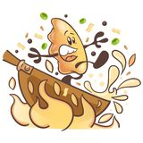Boulettes frites japonaises Gyoza personnage de dessin animé d'amusement Frit dans le WOK photo libre de droits