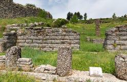 Bouleuterion在古老Dodona,伊庇鲁斯同盟,希腊废墟  免版税库存图片