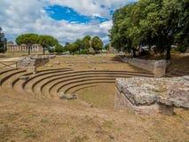 Bouleuterionen i marknadsplatsen av den grekiska staden av Paestum, Italien Royaltyfria Foton