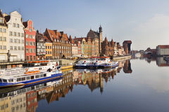 Boulevard along the Motlawa River in Gdansk, Poland Royalty Free Stock Photo