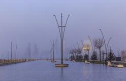 Boulevard in Baku on a foggy morning.Azerbaijan Stock Image