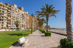 Boulevard and beach of Port Saplaya in Valencia. Spain Royalty Free Stock Photography