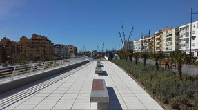 Boulevard with bench - San Pedro de Alcantara Royalty Free Stock Image