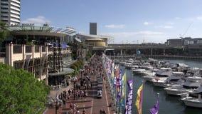 Boulevard caro del porto con la gente e le barche stock footage
