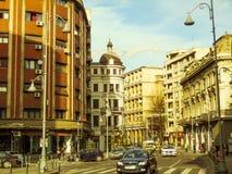 Boulevard de Calea Victoriei à Bucarest centrale, Roumanie Photo stock