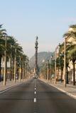 Boulevard de Columbus à Barcelone. Image libre de droits