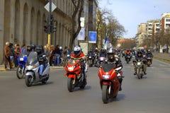 Boulevard della città di giro dei motocicli Fotografie Stock