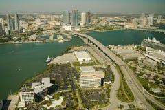 Vista aerea di Miami del centro fotografia stock