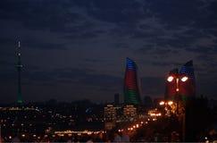 Boulevard della spiaggia di Bacu di notte Fotografie Stock