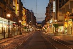 Boulevard in Genève, Zwitserland Stock Afbeelding