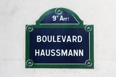 Boulevard Haussmann street sign in Paris. France royalty free stock image