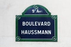 Boulevard Haussmann street sign in Paris Royalty Free Stock Image
