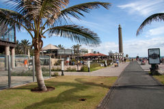 The boulevard of Meloneras. View over the boulevard of Meloneras in Maspalomas on Gran Canaria royalty free stock image