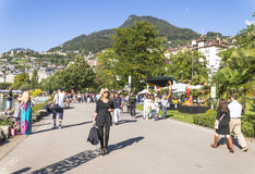 Boulevard in montreux Royalty Free Stock Images