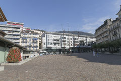 Boulevard in montreux stock photography
