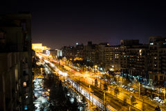 Boulevard at Night. Unirii boulevard, Bucharest Romania at night Royalty Free Stock Photo