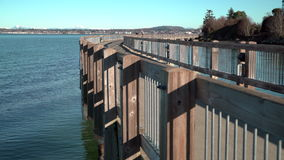 Boulevard Park Pier, Bellingham Bay. 4K UHD stock video footage