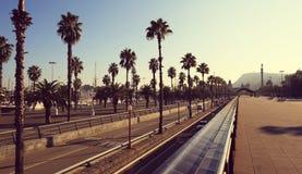 Boulevard promenade panorama in Barcelona Stock Photo