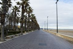 The boulevard and seafront of Valencia, Spain. Empty street of Valencia. The boulevard and seafront of Valencia, Spain Stock Photo