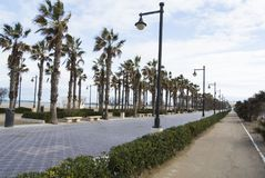 The boulevard and seafront of Valencia, Spain. Empty street of Valencia. The boulevard and seafront of Valencia, Spain Stock Photography