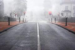 Boulevard in Slowenien umgab durch Nebel Stockfotografie