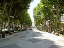 Boulevard somewhere in Palma de Majorca. Palma de Majorca, Spain - June 25, 2008: Alley with trees in the center of Palma de Majorca - resting people on benches royalty free stock image