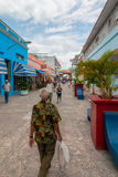 Boulevard street with locals and tourists walking Royalty Free Stock Images