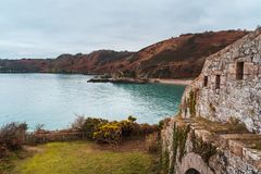 Bouley zatoki schronienie, bydło, U K xix wiek połowu mały port na północy wyspa zdjęcia royalty free