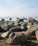 Boulgers on seacost. The big sea stones on seacoast Stock Images