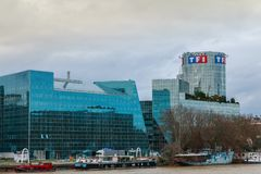 View of the TF1 tower on a winter day. Boulogne Billancourt, France - January 24, 2018 : view of the TF1 tower on a winter day where the television channel of stock photography