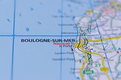 Boulogne-sur-Mer on map. Close up shot of Boulogne-sur-Mer on map, often called Boulogne, is a city in Northern France Stock Images