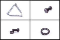 Boulon, écrou, clou, et anneaux métalliques, ensemble de matériel Photo stock