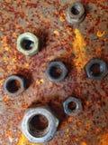 Boulons en acier de zinc de rouille Image stock