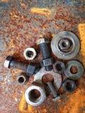 Boulons en acier de zinc de rouille Photos stock