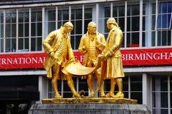Boulton, Watt and Murdoch statue, Birmingham. Statue of Matthew Boulton, James Watt, and William Murdoch by William Bloye, Broad Street, Birmingham, England, UK Stock Image