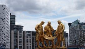 Boulton, watt och Murdoch staty i mitten av Birmingham, England Arkivfoton