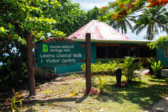 Bouma National Heritage Park visitor center in Lavena village on royalty free stock photos